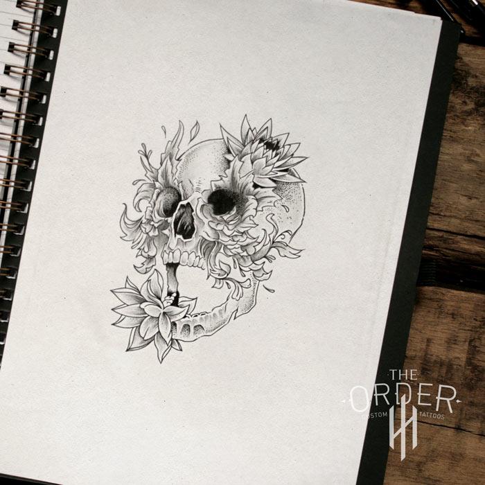 Skull Leaf Roses Sketch