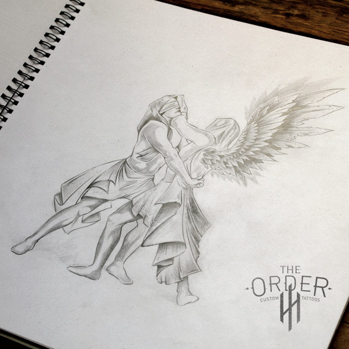 Jacob Wrestles Angel Sketch