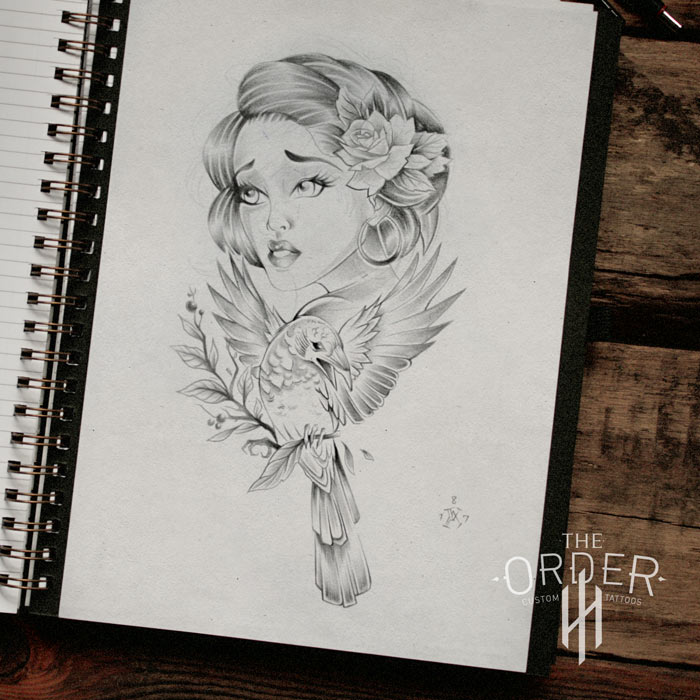 Woman Bird Flower Sketch