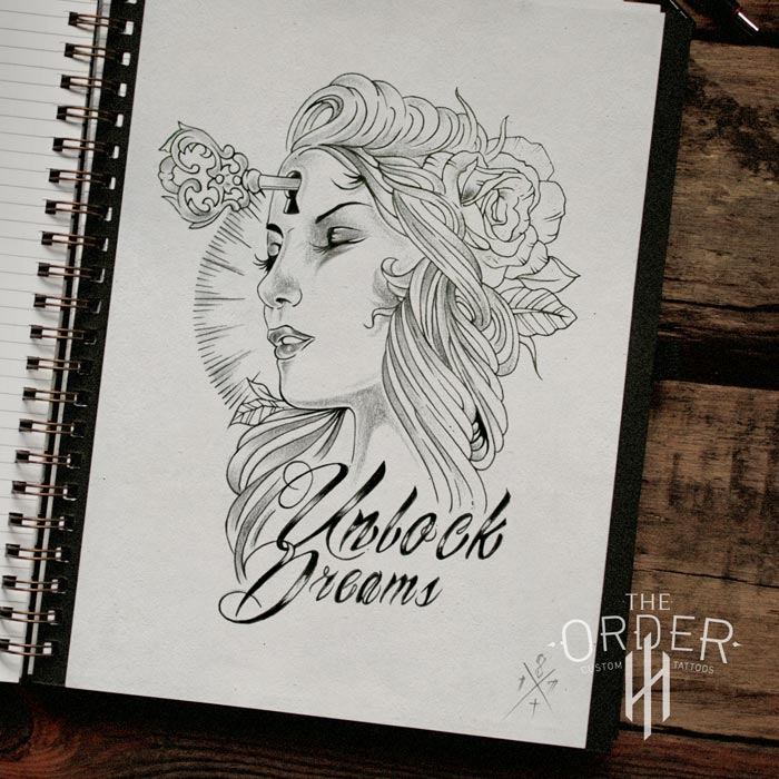 Unlock Dreams Woman Face Rose Sketch