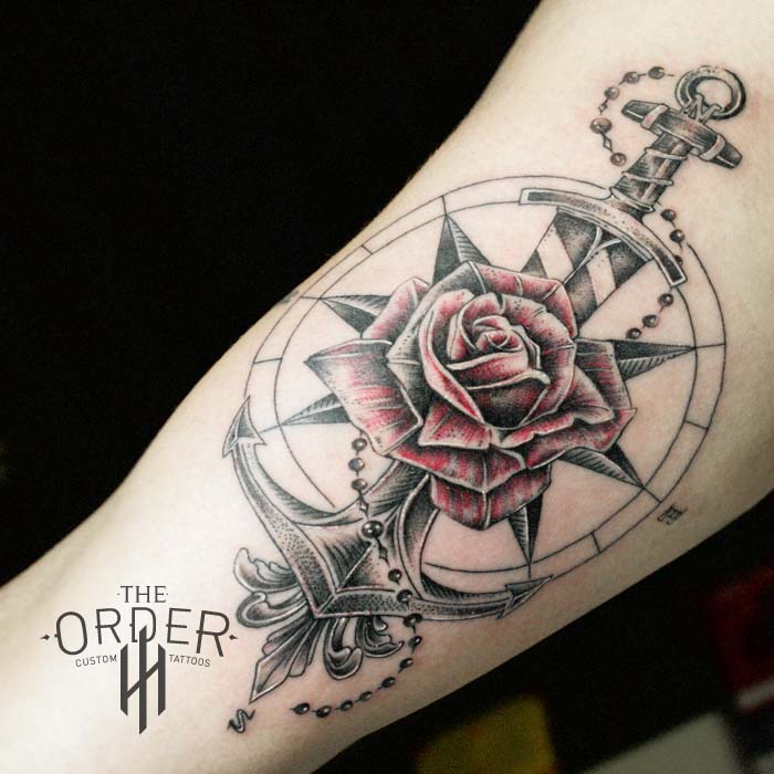 Rose Compass Anchor Sword Tattoo