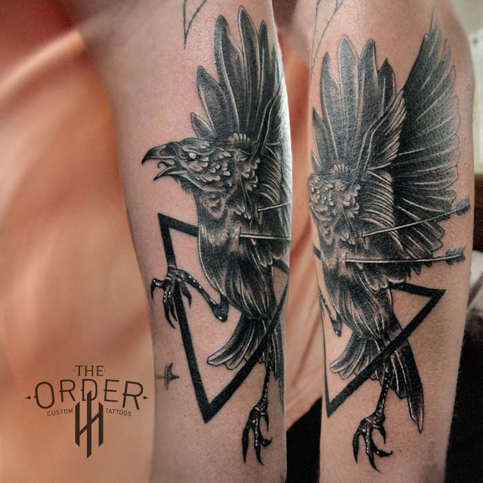 Crow Triangle Arrows Tattoo