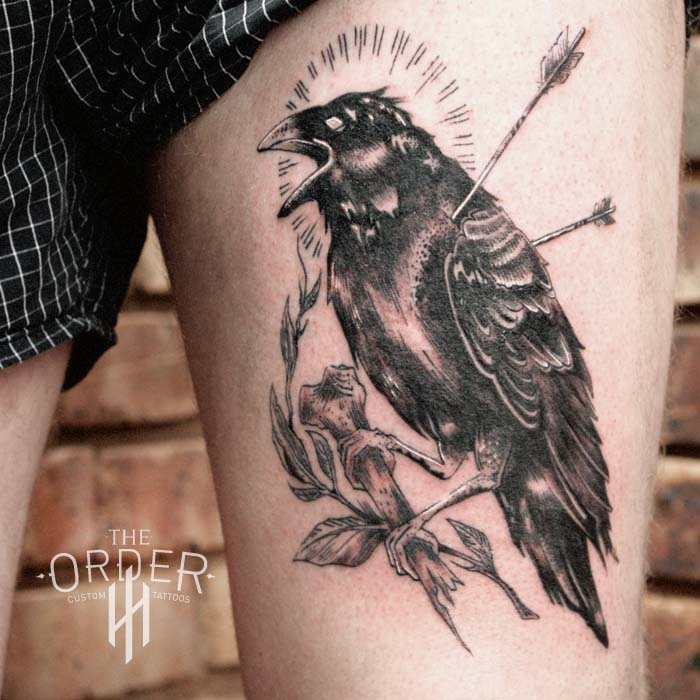 Crow With Arrows Tattoo
