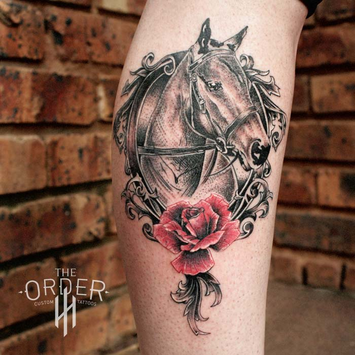 Horse Rose Tattoo