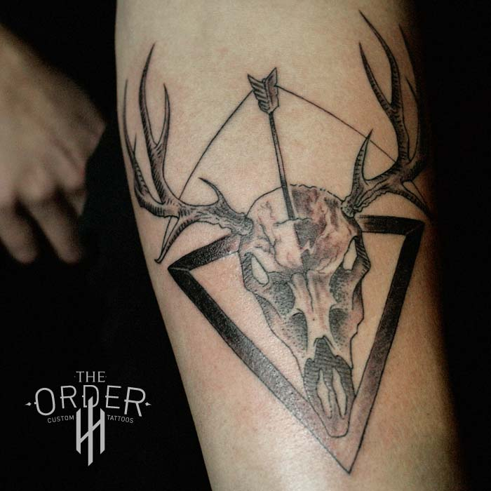 Skull Bow Arrow Triangle Tattoo