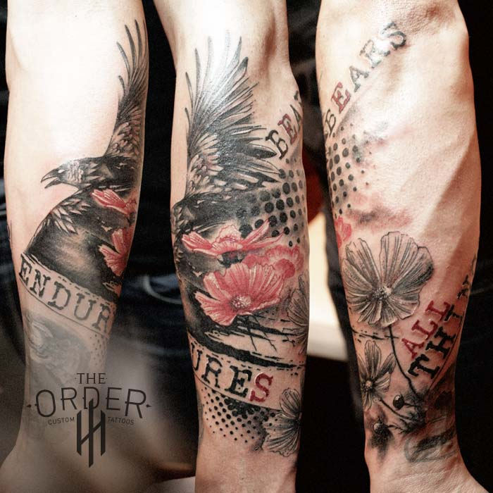 Love Endures Crow Cosmos Trash Polka Sleeve Bottom Tattoo