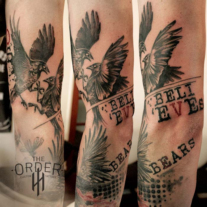 Love Endures Crow Cosmos Trash Polka Sleeve Top Tattoo