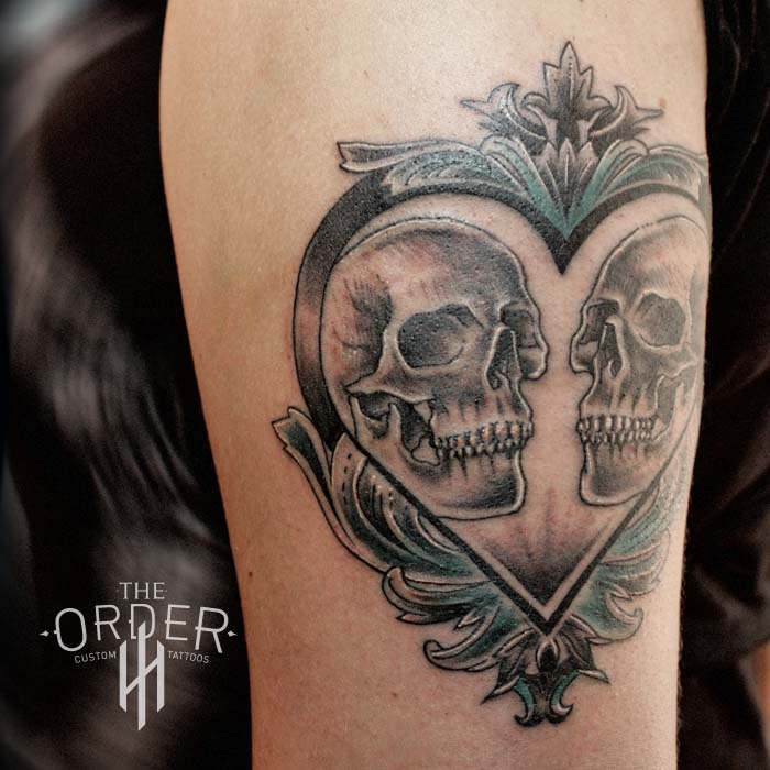 Skull Heart Filigree Green Tattoo