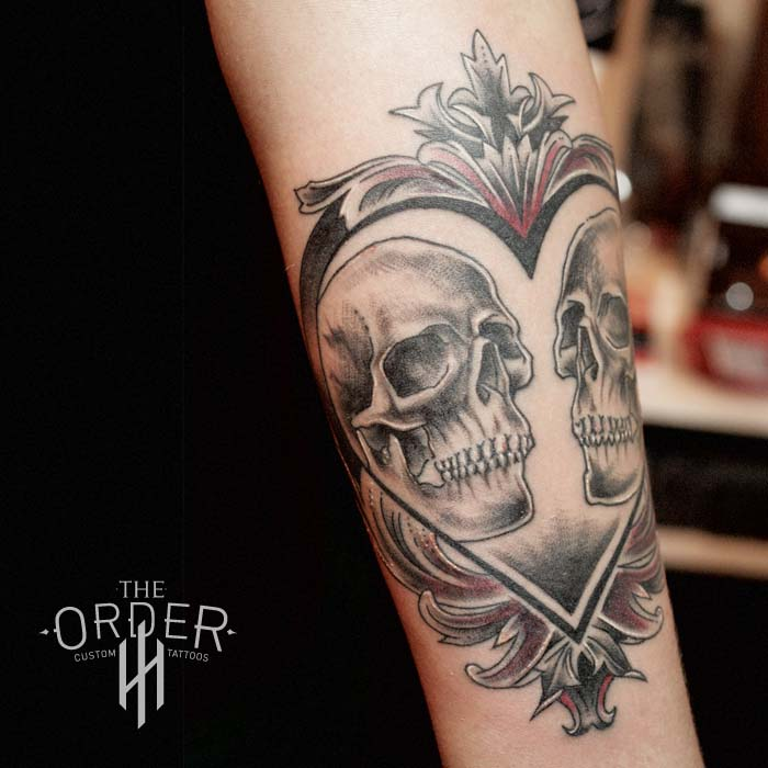 Skull Heart Filigree Red Tattoo