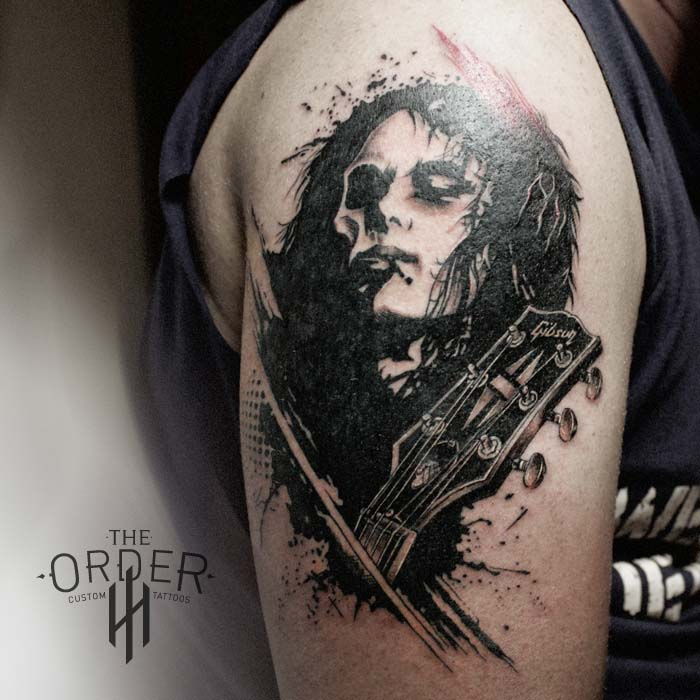 Jimmy Page Gibson Guitar Face Trash Polka Tattoo