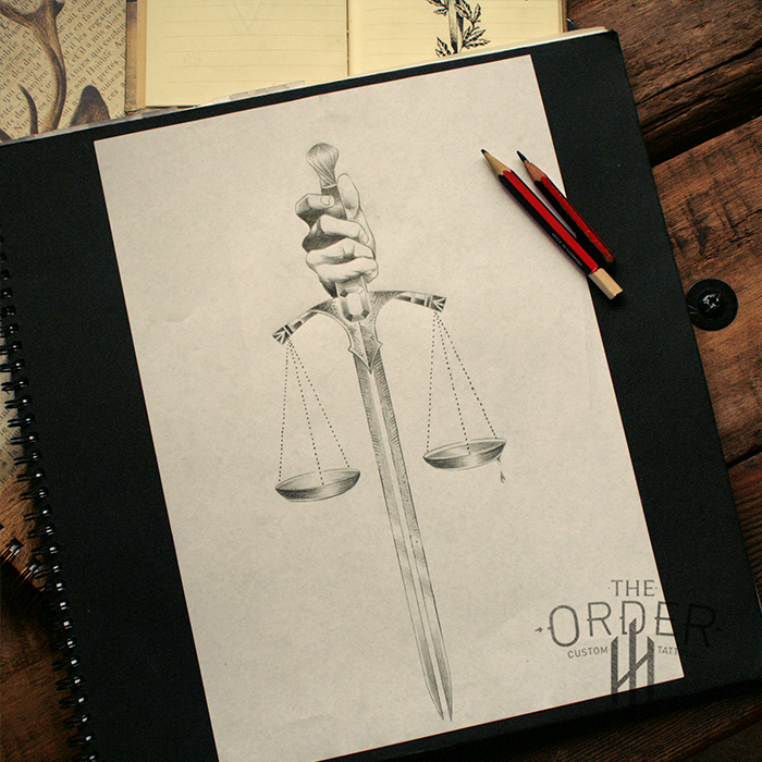 sword with justice scales drawing sketch the order custom tattoos. Black Bedroom Furniture Sets. Home Design Ideas