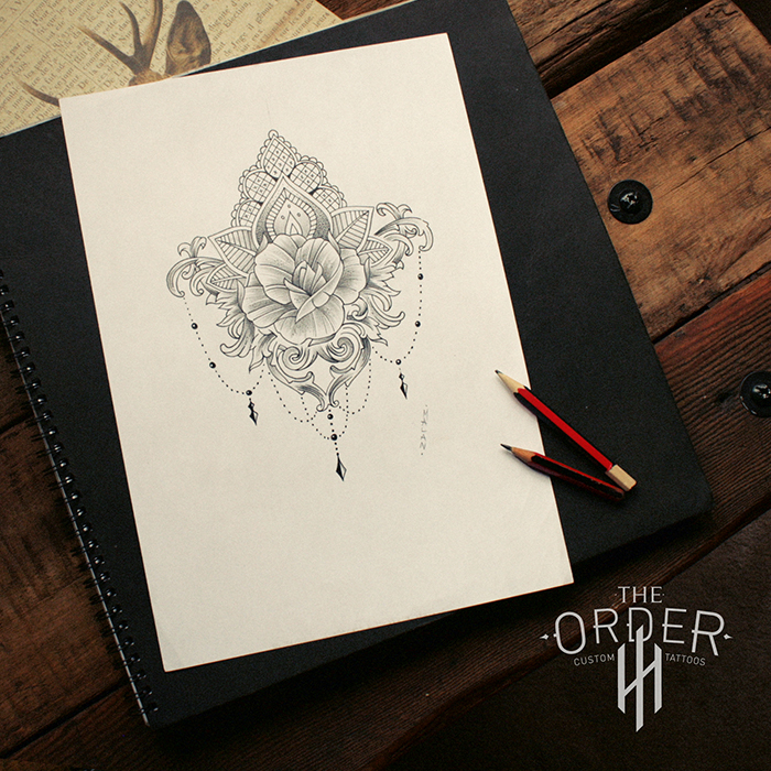 0d5ca21c7 Mandala Rose Filigree Sketch Design The Order - The Order Custom Tattoos