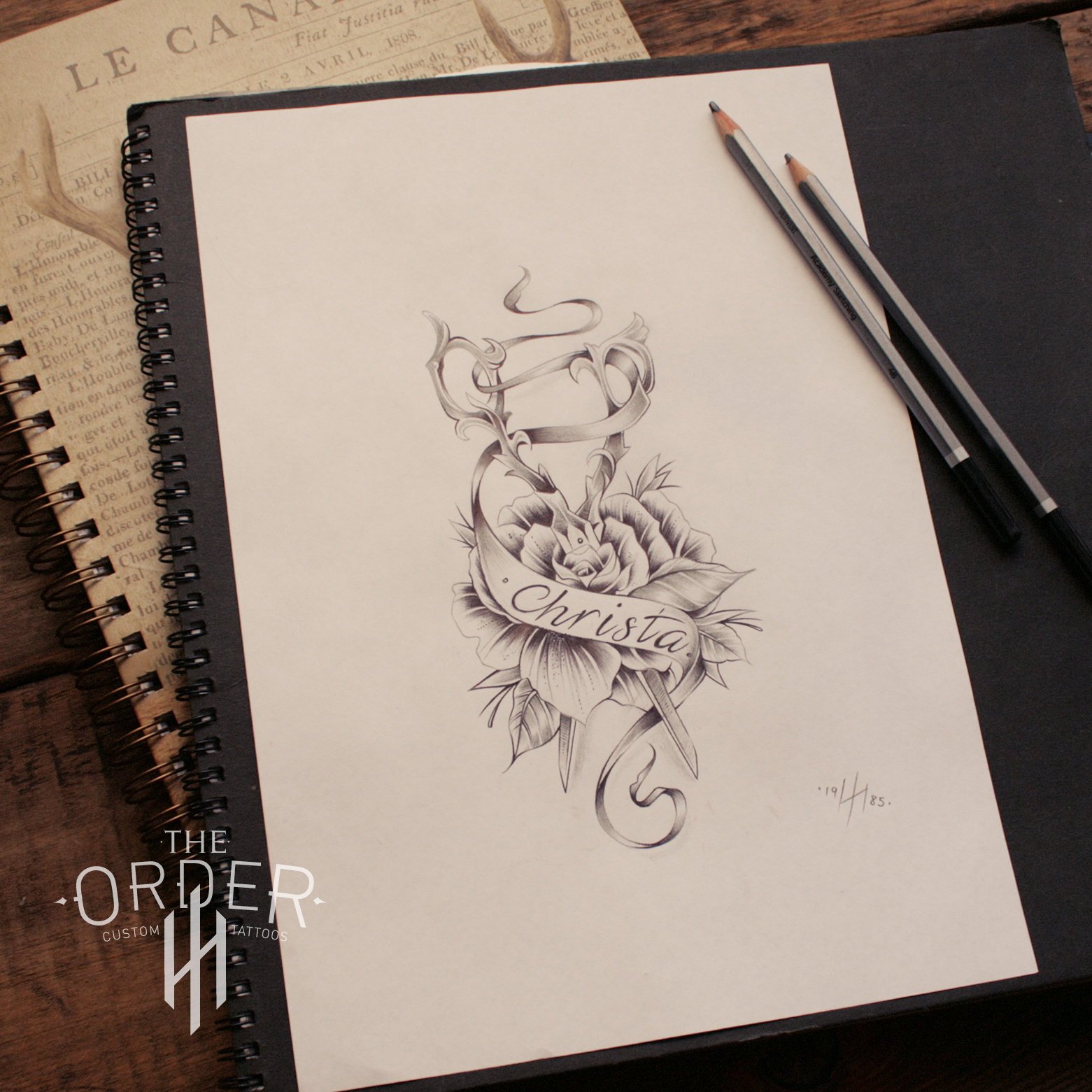 Neo Traditional Scissors And Rose Sketch The Order