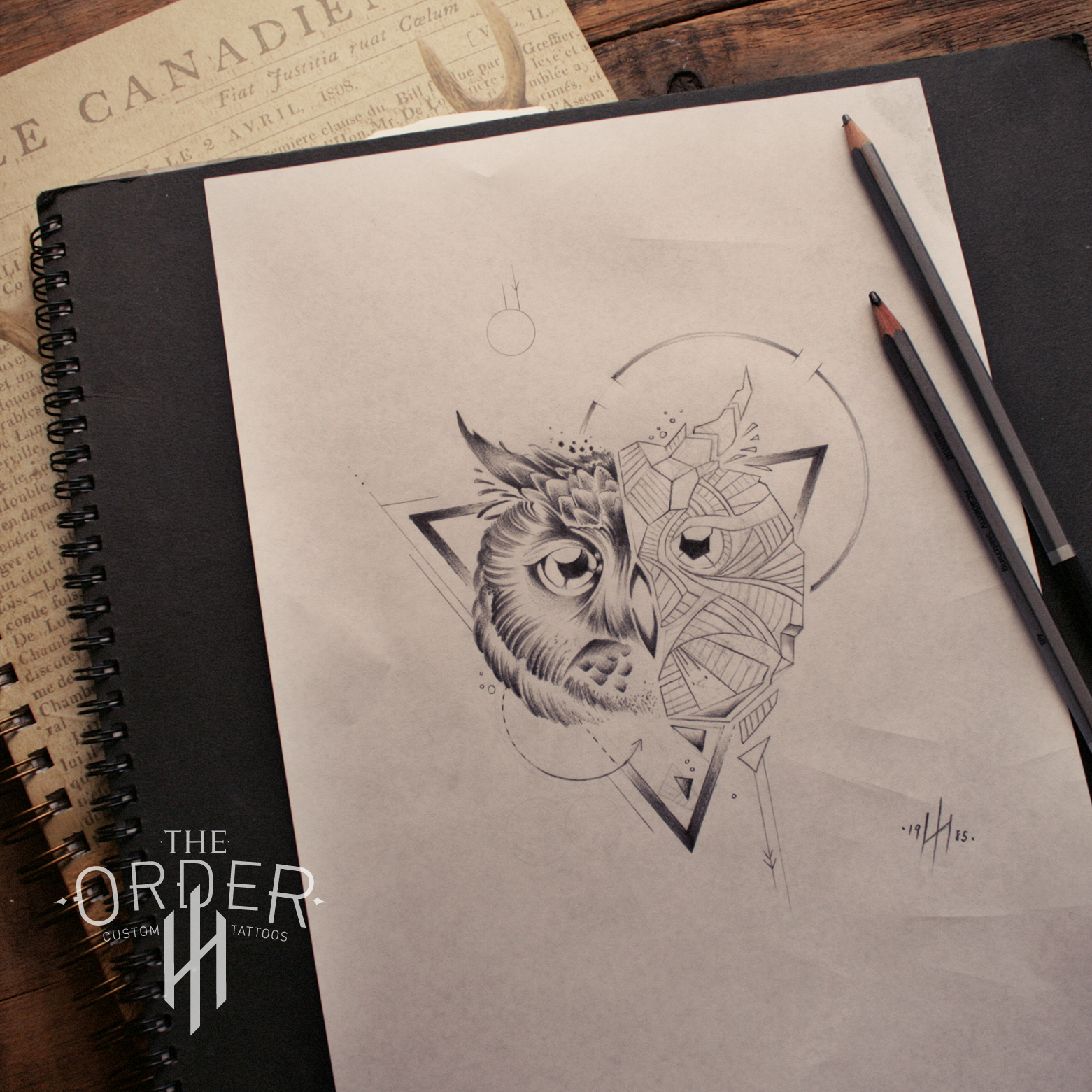 Geometric Owl Sketch The Order