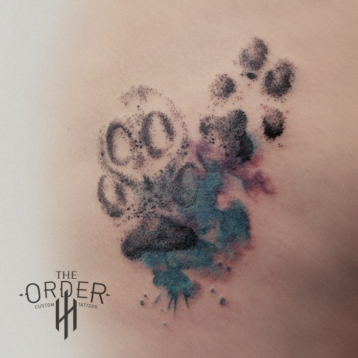 Dog Paw Prints Water Color Tattoo – The Order