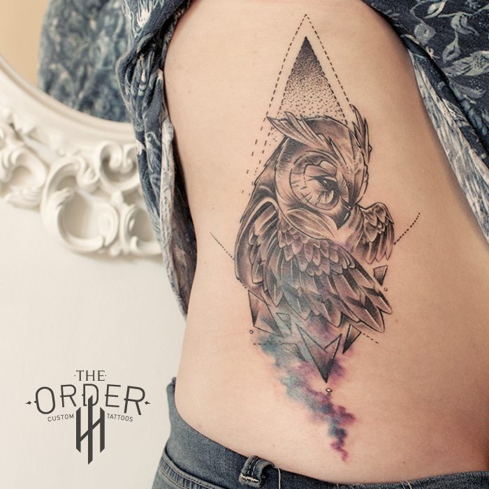 Watercolor Geometric Owl Tattoo – The Order Custom Tattoos