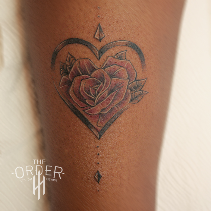Neo Traditional Rose In Heart Tattoo – The Order