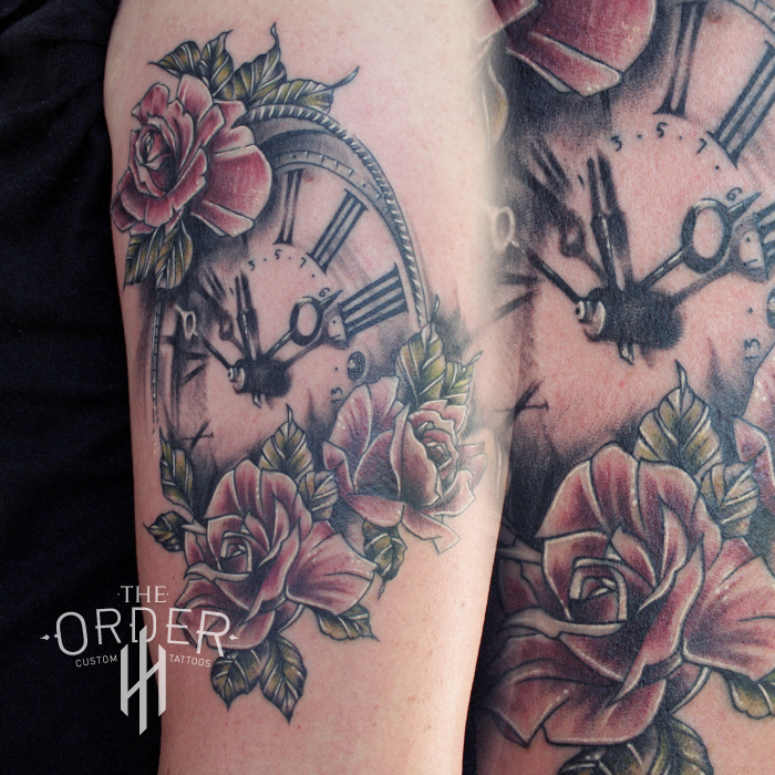 Neo Traditional Clock And Roses Tattoo – The ORDER