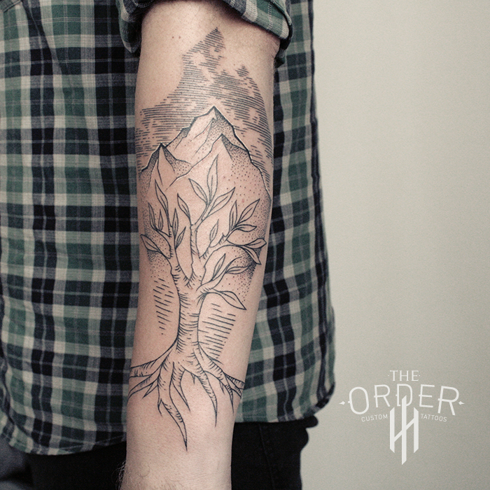 Tree And Mountain Line Work\dot Work Tattoo – The ORDER
