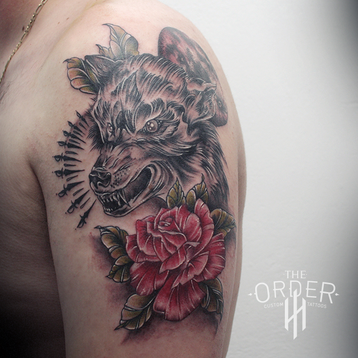 Neo Traditional Wolf And Rose Tattoo – The ORDER