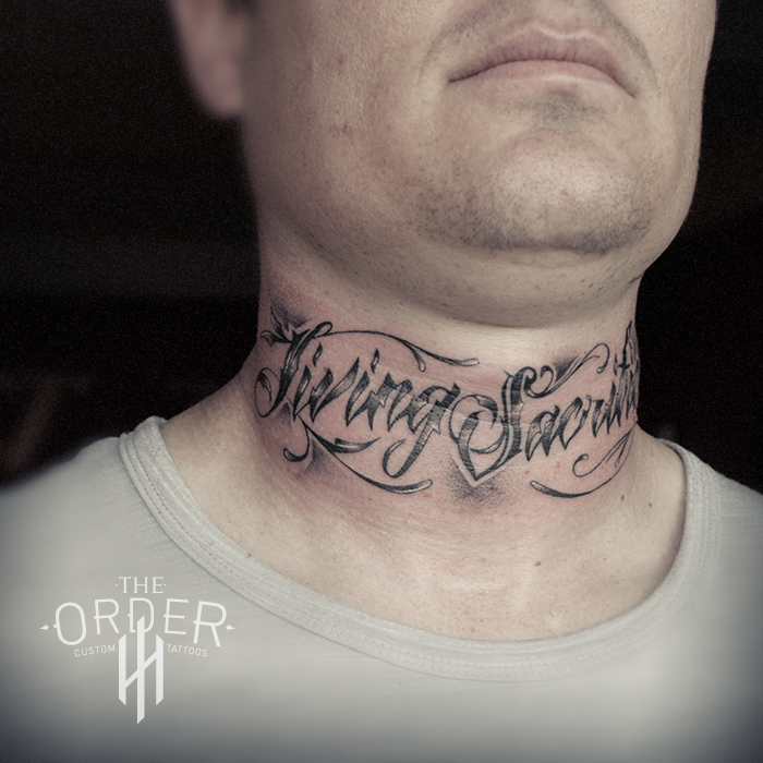 Writing Neck Tattoo Men – The Order