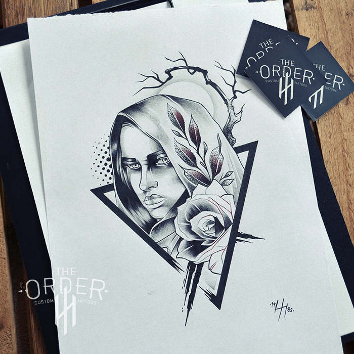 Mystic Nun Drawing 1 – The Order Custom Tattoos