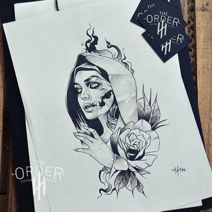 Mystic Nun Drawing 3 – The Order Custom Tattoos
