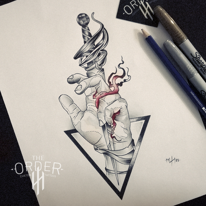 Neo Traditional Hand And Dagger Drawing – The Order Custom Tatttoo
