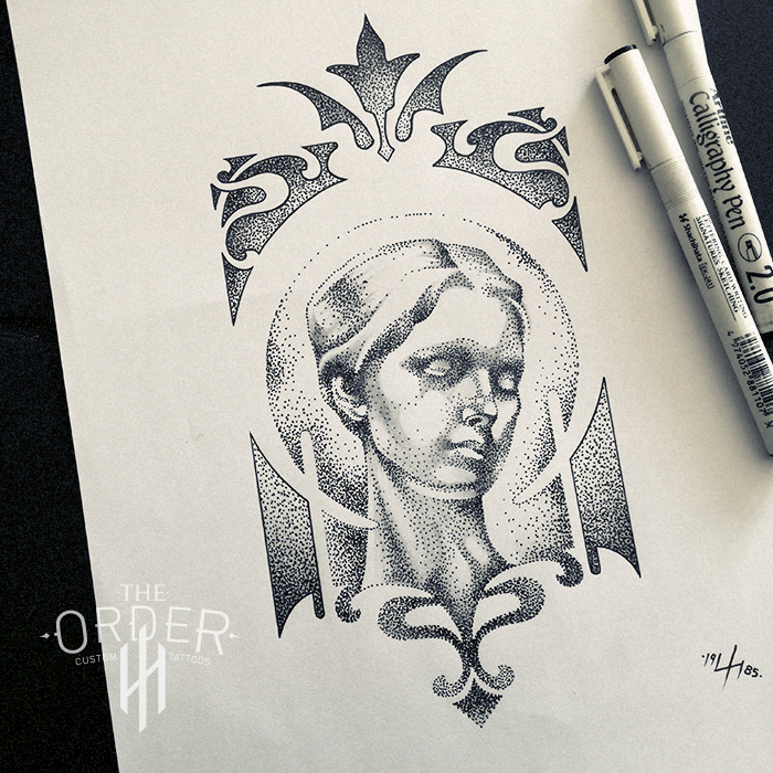 Art Nouveau Woman Face Drawing – The Order Custom Tattoos