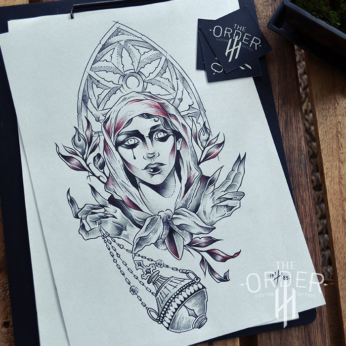 Mystic Nun Drawing 4 – The Order Custom Tattoos