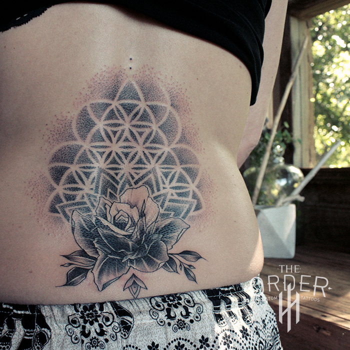 Flower Of Life Tattoo: Rose And Flower Of Life Tattoo- The Order Custom Tattoos